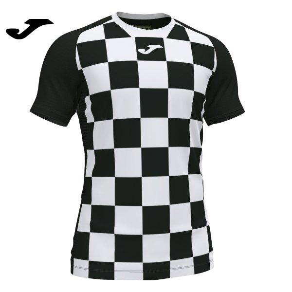 Joma FLAG II SHIRT BLACK-WHITE S/S - Adult.