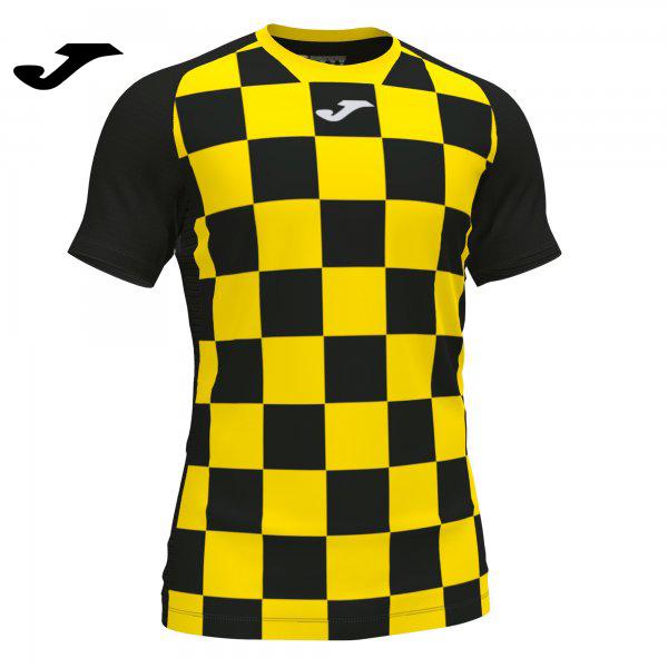 Joma FLAG II SHIRT BLACK-YELLOW S/S - Adult.