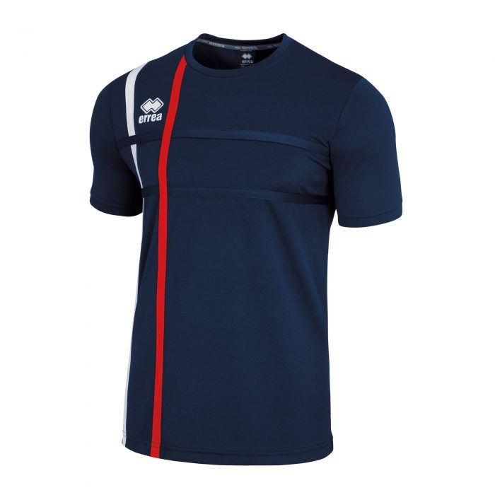 #5. Errea MATEUS Shirt (Navy/White/Red) Short Sleeve - Adult.
