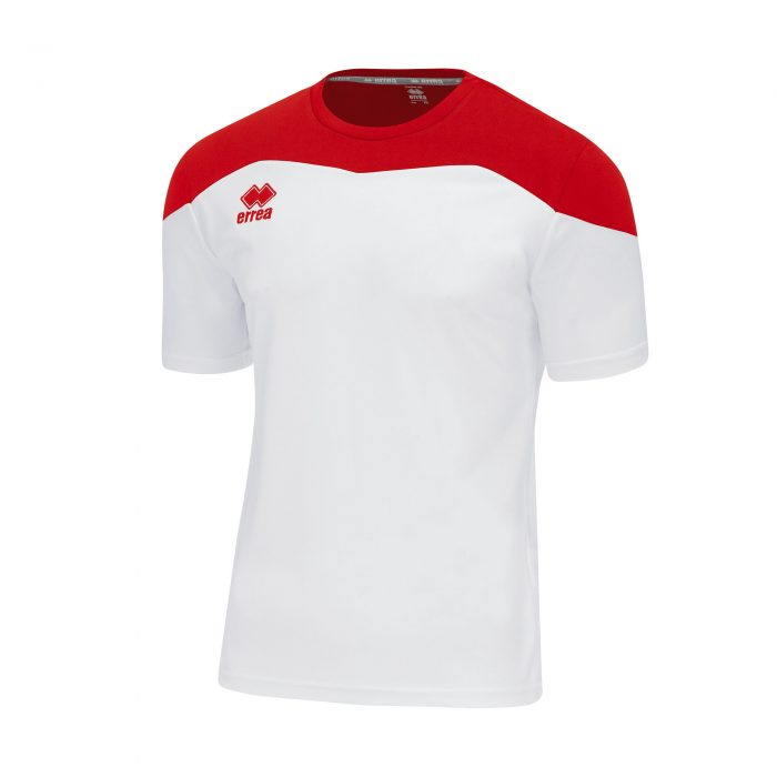 #7. Errea GRETA Shirt (White/Red) Short Sleeve - Adult.