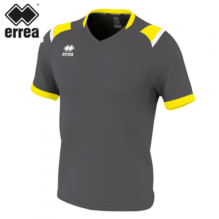 Errea LUCAS Shirt SS (ANTHRACITE YELLOW FLUO WHITE) - Adult.