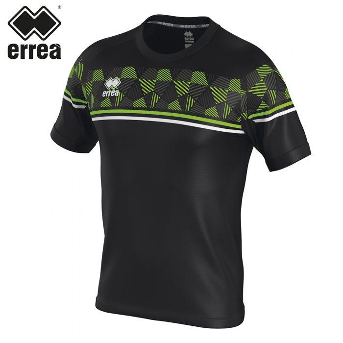 Errea DIAMANTIS Shirt SS (BLACK GREEN FLUO WHITE) - Adult.