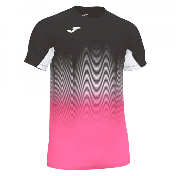 Joma ELITE VII T-SHIRT BLACK-FLUOR PINK-WHITE SS - Adult.