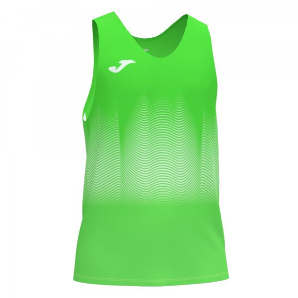 Joma ELITE VII T-SHIRT FLUOR GREEN-WHITE SLEEVELESS - Adult.
